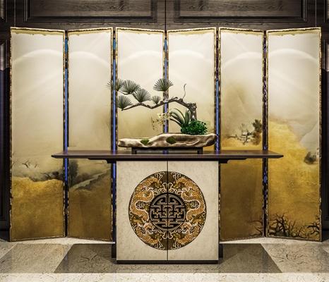 新中式端景台盆栽屏风组合3D模型