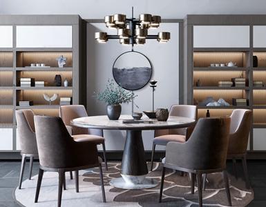 新中式禅意圆形餐桌餐椅组合 新中式餐桌椅 圆桌 餐桌 餐椅 花卉 单椅 书柜 假山 吊灯 花艺 饰品摆件
