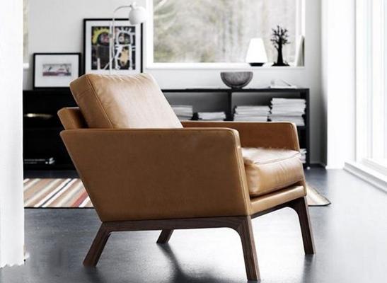 现代皮革单人沙发3D模型
