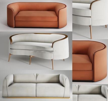 现代皮革双人沙发组合3D模型下载