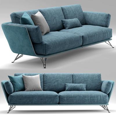 现代布艺双人沙发3D模型下载