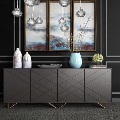 現代玄關端景柜陶器飾品組合3D模型