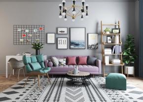 北欧布艺沙发休闲椅茶几装饰架吊灯组合3D模型