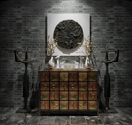 中式端景柜摆件雕塑组合3D模型