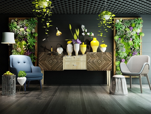 现代端景台植物墙饰组合3D模型