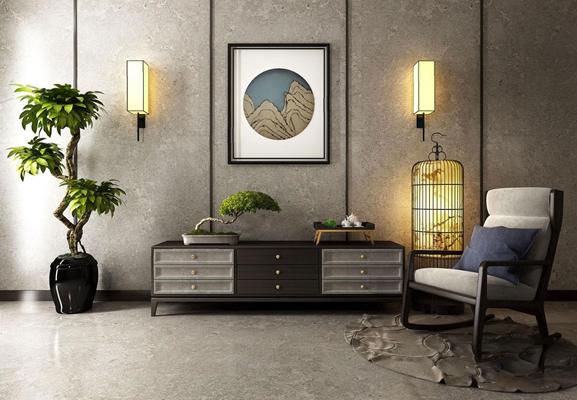 新中式电视柜椅子组合