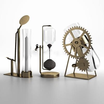 现代金属齿轮沙漏烛台装饰品摆件3D模型