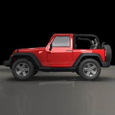 现代红色牧马人汽车3D模型