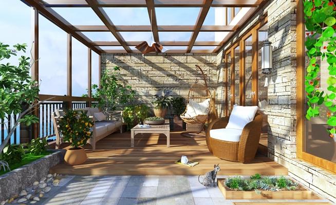 现代阳台花园3D模型