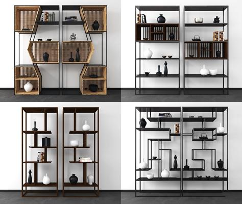 新中式装饰柜博古架组合3d模型