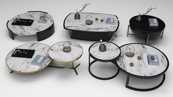 新中式茶几圆几组合3d模型【ID:97179762】