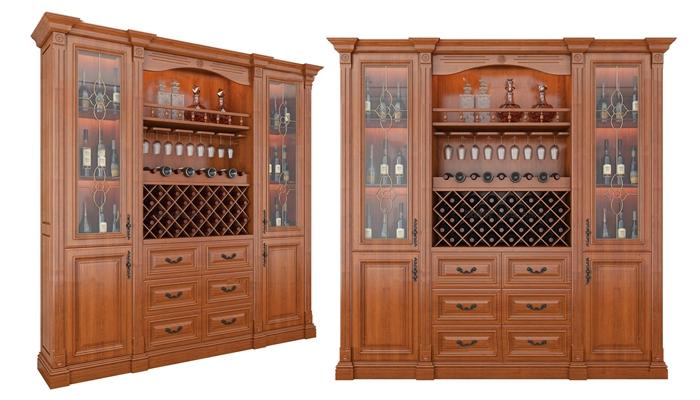 美式酒柜红酒组合3d模型