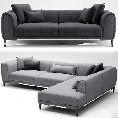 现代布艺转角多人沙发组合3D模型