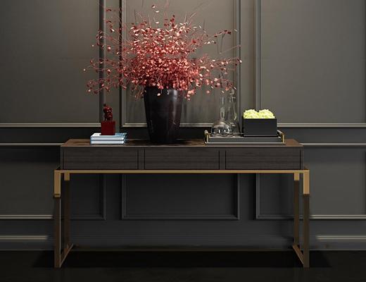 新中式实木端景台饰品组合3d模型
