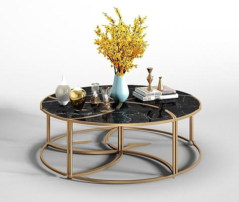 现代金属茶几花瓶组合3D模型