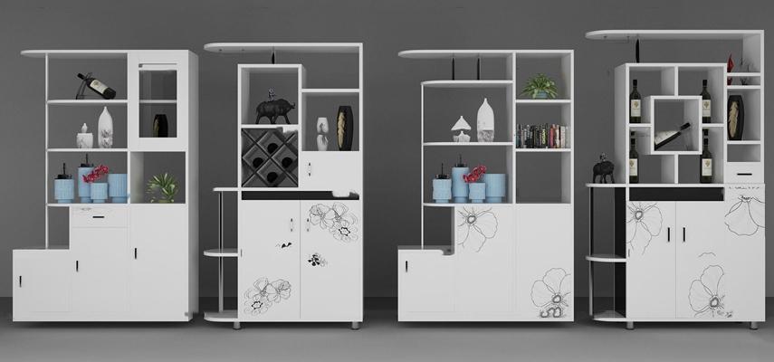 现代装饰鞋柜组合3D模型