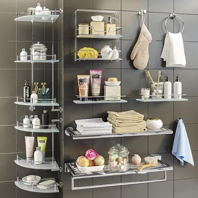 现代化妆品毛巾卫浴架组合3D模型