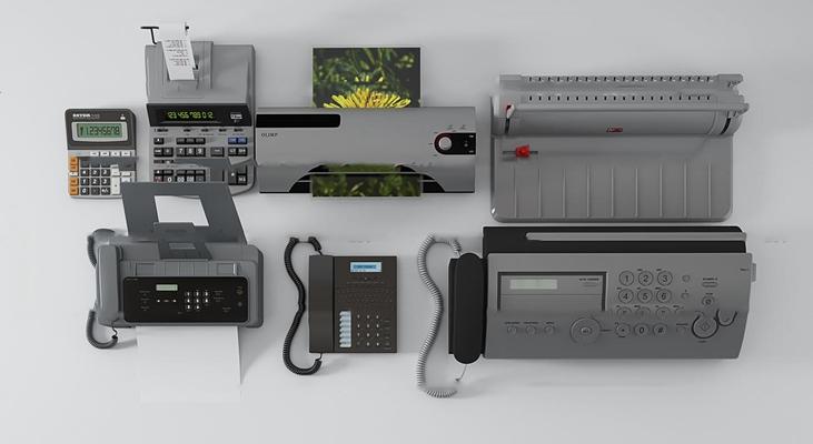 现代打印传真机计算器3D模型