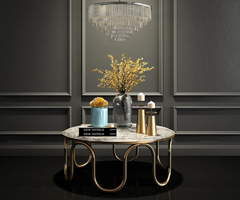现代金属圆形茶几花瓶吊灯组合3D模型