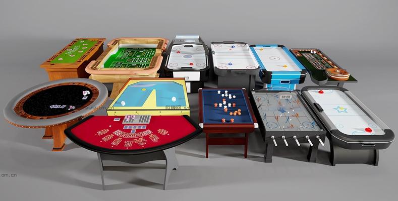 现代游戏机桌组合3d模型