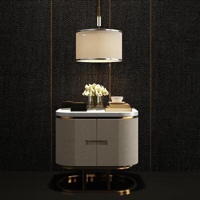 现代皮革床头柜摆件组合3D模型