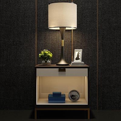 现代实木床头柜台灯组合3D模型