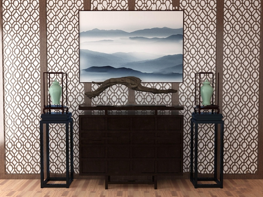 中式端景柜屏风摆件组合3D模型