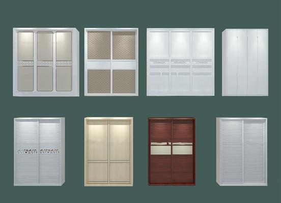 现代实木衣柜组合3D模型