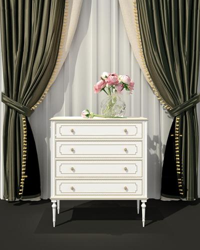 美式边柜窗帘花瓶花卉组合3D模型