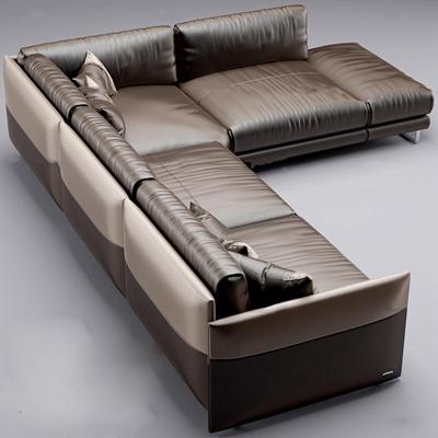 現代轉角皮革沙發3D模型