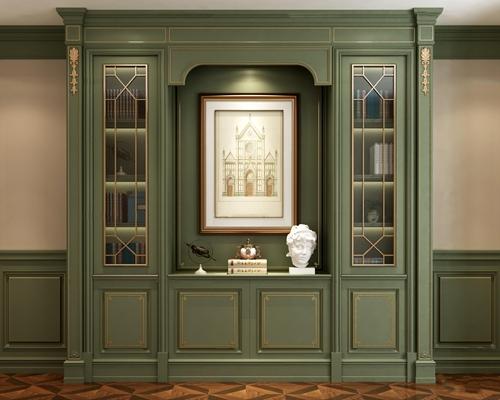 欧式实木书柜摆件组合3D模型