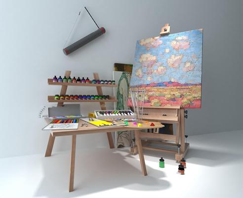 现代画架画板组合3D模型