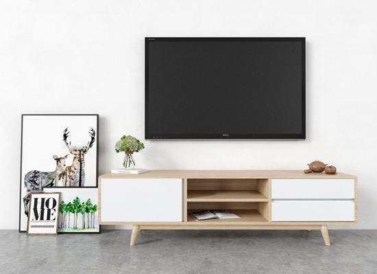 现代实木电视柜装饰画组合3D模型