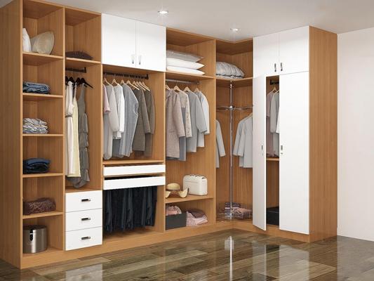 现代转角衣柜服饰组合3D模型