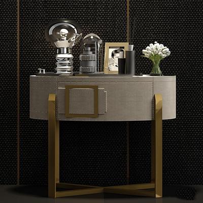 现代金属皮革床头柜摆件组合3D模型