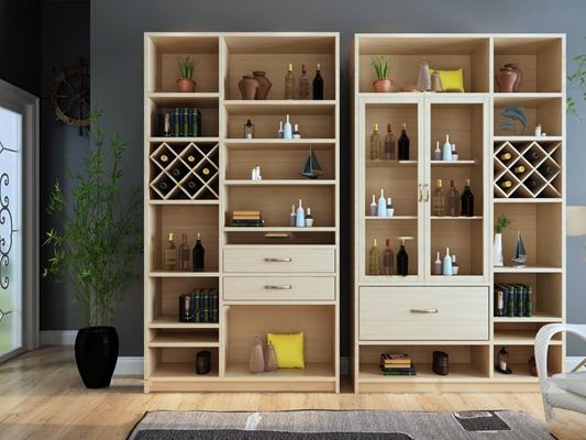 现代酒柜装饰柜摆件组合3D模型