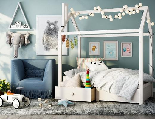北欧儿童房家具组合 北欧单人床 单人沙发 吊灯 挂画 地毯 玩具 墙饰