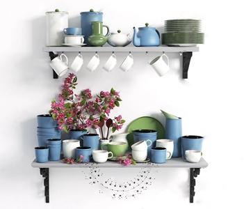 现代彩色厨具餐具 现代餐具/厨具 彩色餐具
