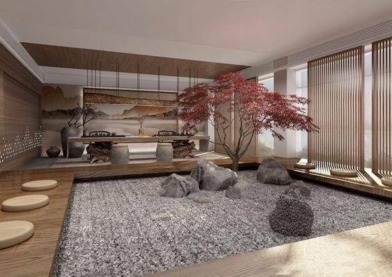 新中式餐厅 新中式餐饮空间 茶台 椅子 凳子 餐桌椅 屏风 树 石头 吊灯 摆件