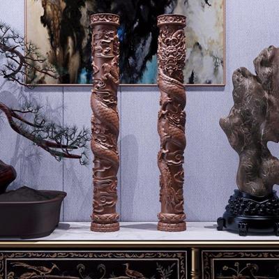新中式祥云盘龙柱雕刻摆件 新中式摆件 祥云盘龙柱雕刻