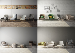 现代休闲椅沙发凳组合3D模型