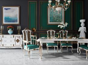 欧式餐桌椅餐具边柜吊灯组合3D模型