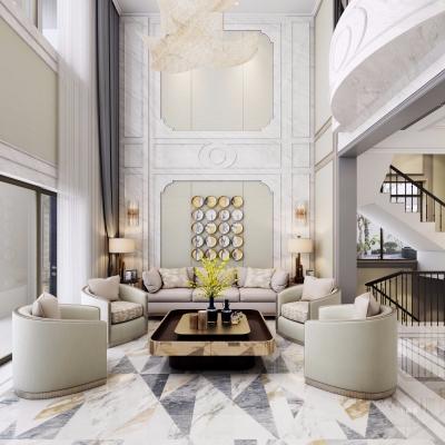 法式輕奢別墅客廳餐廳茶室門廳3D模型