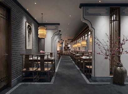 新中式徽派酒店餐厅过道 新中式餐饮空间 餐桌椅 马头墙 休闲椅 餐具 花艺 吊灯 砖墙 隔断 装饰画 墙饰