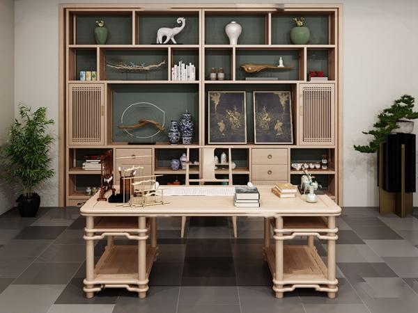 新中式禅意书桌书柜3d模型