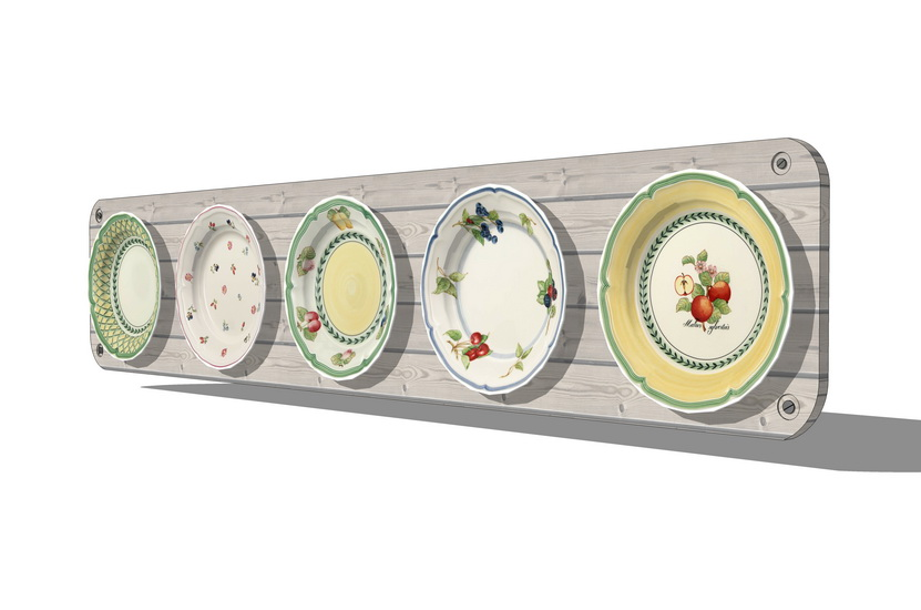 青花瓷盘组合墙饰SU模型