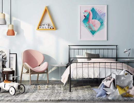 北欧儿童床 北欧单人床 铁床 挂画 单头吊灯 休闲椅 边几 玩具 地毯 台灯