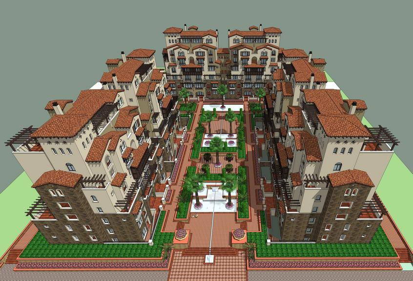 地中海风格多层住宅SU模型