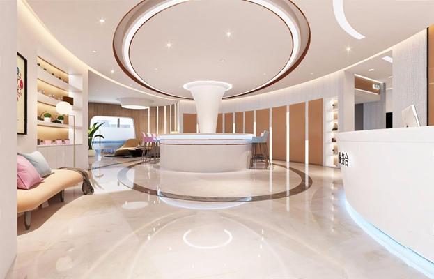 现代美容整形医院 现代spa 等候区 美容院 整形 接待吧台 吧椅 弧形沙发 落地灯 摆件