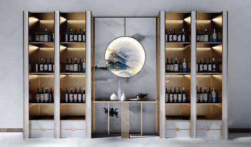 新中式装饰柜 新中式装饰架 酒柜 陈列柜 边几 角几 墙饰 饰品摆件 红酒